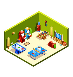 isometric recreation entertainment room vector image
