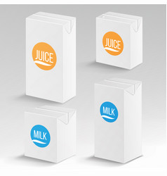 Juice and milk package realistic mock up vector