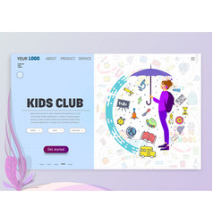 kids club home page template flat style character vector image