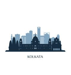 kolkata skyline monochrome silhouette vector image