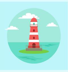 lighthouse blue seascape horizon in daytime vector image