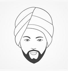 line art an indian man vector image