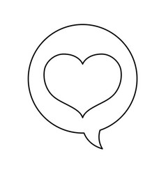Line chat bubble with heart inside icon design vector