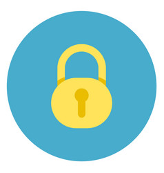lock icon on round blue background vector image