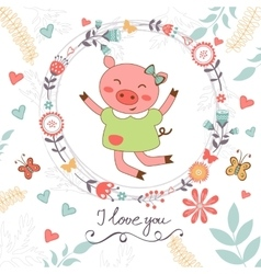 Love romantic card with cute jumping pig vector