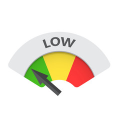 Low level risk gauge icon low fuel on white vector