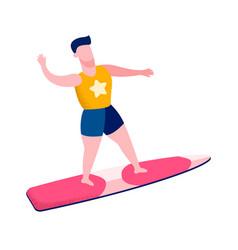 Male surfer waving hand flat vector