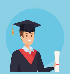 Man university graduation with rope and academic vector