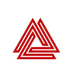 maze triangle logo design vector image