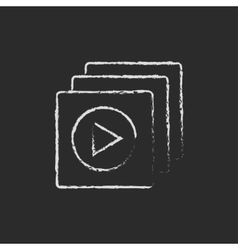 Media player icon drawn in chalk vector image