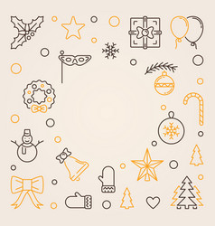 merry christmas outline background vector image