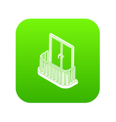 Modern balcony icon green vector