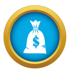 Money bag icon blue isolated vector