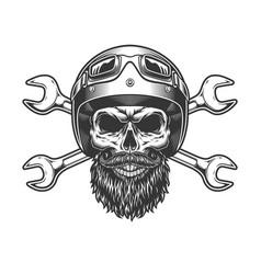 Motorcycle rider skull in moto helmet vector