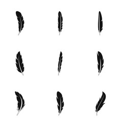 native feather icon set simple style vector image