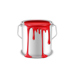 Open tin can with spilled red paint vector