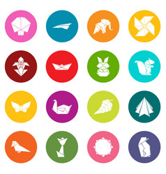 Origami icons set colorful circles vector