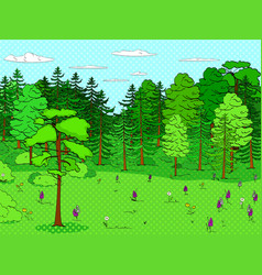 pop art background forest glade lots of trees vector image