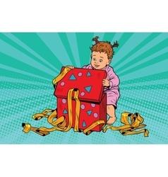 pop art girl opens gift box vector image