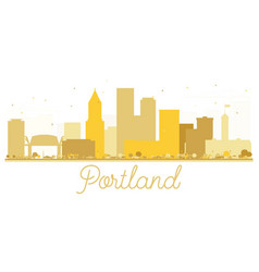 Portland oregon usa city skyline golden silhouette vector