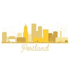 portland oregon usa city skyline golden silhouette vector image