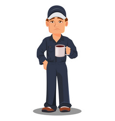 Professional auto mechanic in uniform tired vector