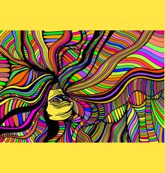psychedelic fantasy beautiful girl hand vector image