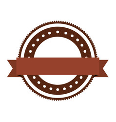 realistic brown color heraldic circular shape vector image