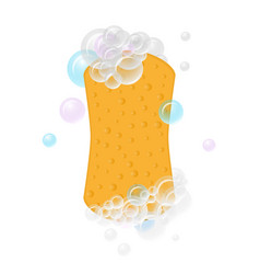 realistic yellow washing sponge with foam bubbles vector image
