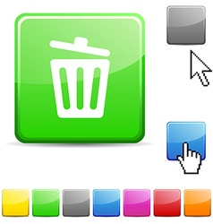 Recycle bin glossy button vector