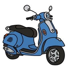 Retro blue scooter vector