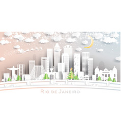 rio de janeiro brazil city skyline in paper cut vector image