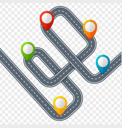 road with location mark or pin pointer vector image