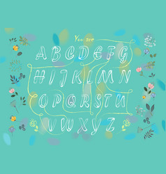 Romantic flowers cipher text you are my flower vector