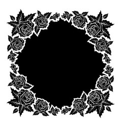 Roses silhouettes frame vector