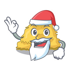 Santa hay bale mascot cartoon vector