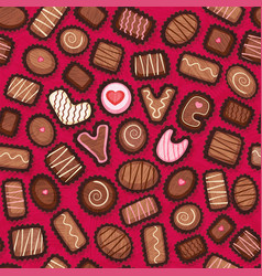 seamless pattern fancy chocolates vector image