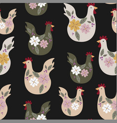 seamless pattern with chicken for easter vector image