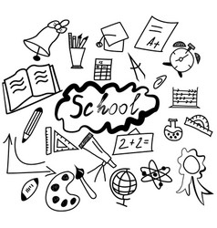 set of back to the school icons black vector image