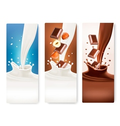 Set of banners with chocolate and milk splashes vector