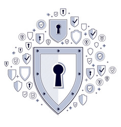 Shield and set of icons internet security concept vector