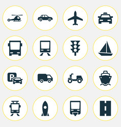 Shipment icons set collection of omnibus railway vector