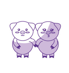 Silhouette cute couple pig wild animal with face vector