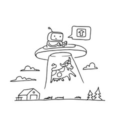 Sketch ufo steal a cow robot alien character 404 vector