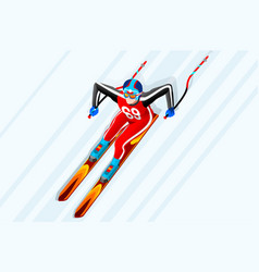 skiing downhill giant slalom vector image