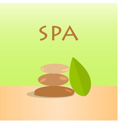 Spa stones and green leaves stones vector