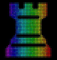 Spectral colored dot chess tower icon vector