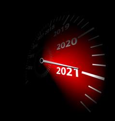 Speedometer with calendar date new year 2021 vector