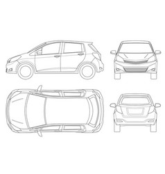 subcompact hatchback car in outline compact vector image