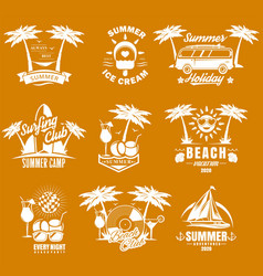 summer time vintage logo set vector image